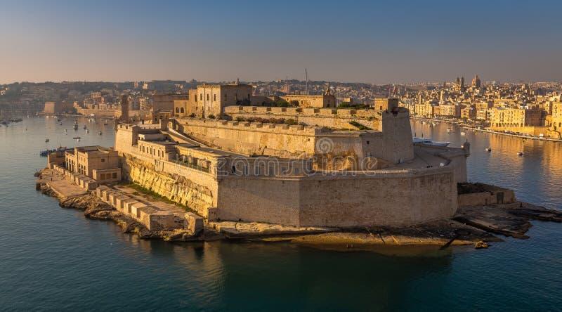 La Valletta Panorama del Forte all'ingresso della città fotografie stock