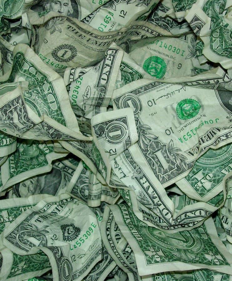 La valuta dei fondi U.S.A. ha sgualcito vicino su fondo fotografia stock libera da diritti