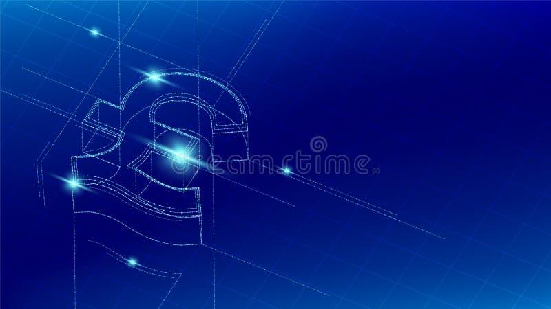 La valuta GBP sterlina la linea isometrica della particella di simbolo che accende il wireframe futuristico, cryptocurrency del m royalty illustrazione gratis