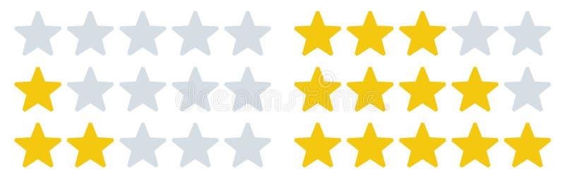 La valutazione stars le icone Tassi della stella, valutazioni di risposte e rassegna di tasso Insieme dell'illustrazione di vetto illustrazione di stock