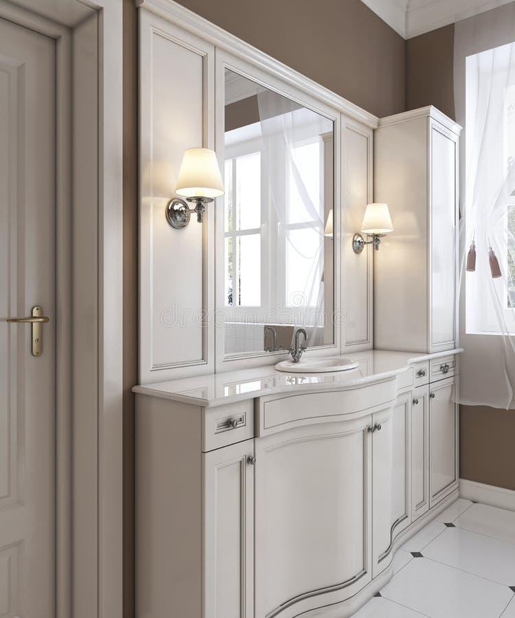 La vanidad blanca hermosa, obra clásica contemporánea diseñó el cuarto de baño blanco limpio stock de ilustración