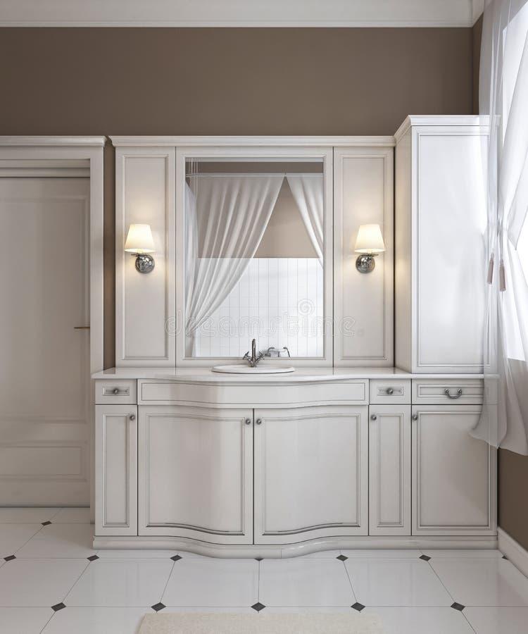 La vanidad blanca hermosa, obra clásica contemporánea diseñó el cuarto de baño blanco limpio ilustración del vector