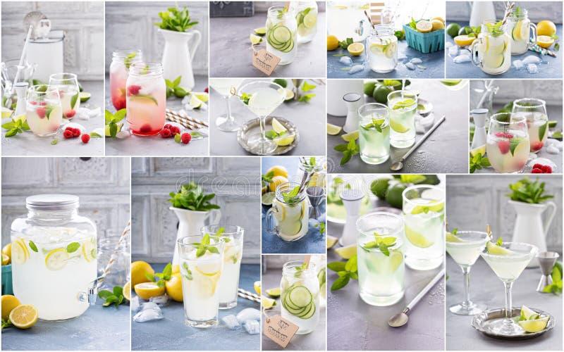 La variété de limonade régénératrice d'agrume boit le collage photos libres de droits