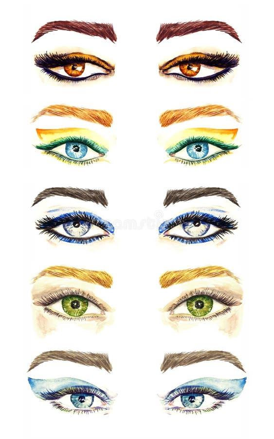 La variété de yeux forme avec la collection différente de styles de maquillage, de lumineux aux fards à paupières naturels de pal illustration libre de droits