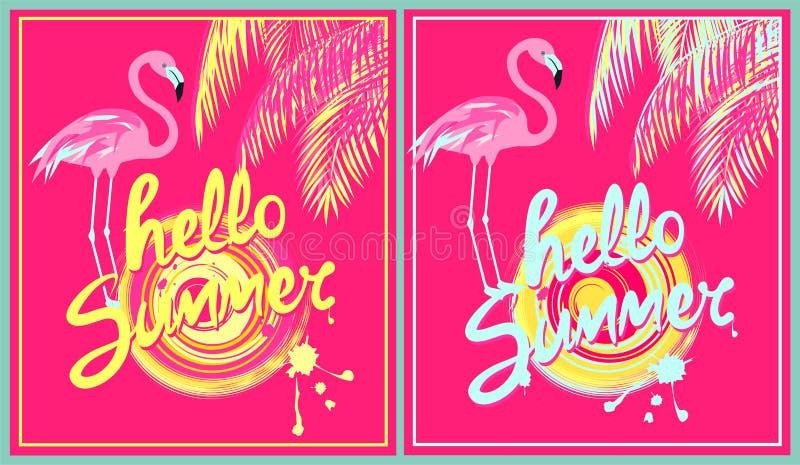 La variación rosada de los fondos con amarillo y la menta colorean hola las letras, el sol, hojas de palma y el flamenco del dibu stock de ilustración