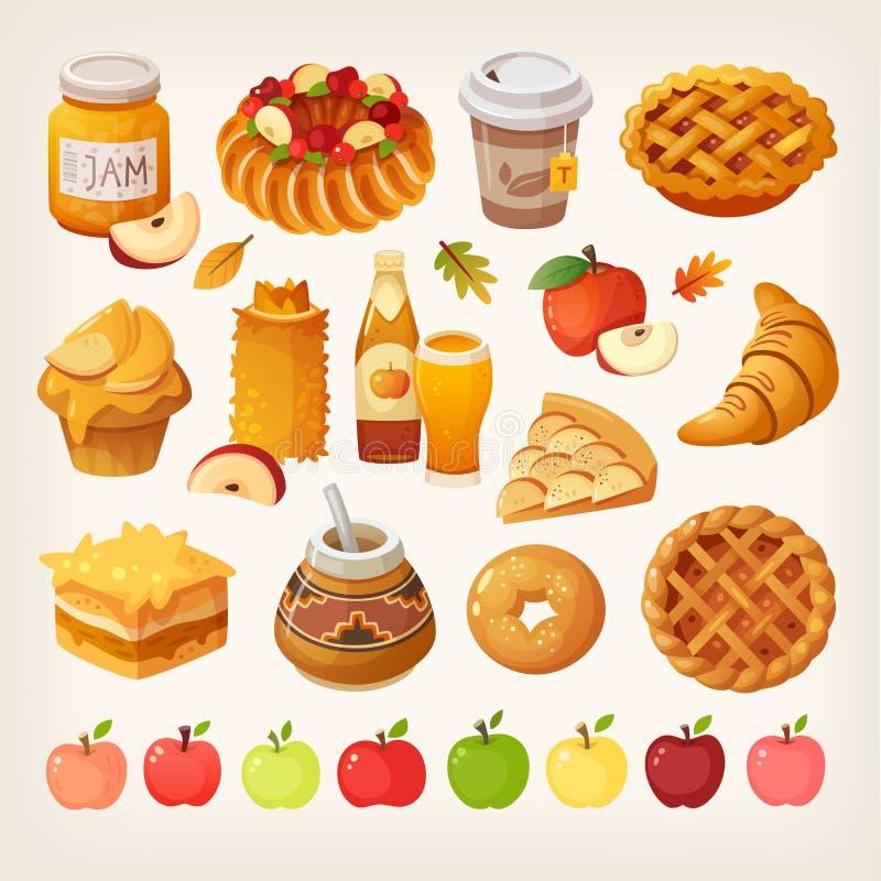 La variedad grande de iconos de las manzanas y de diferentes tipos de comida cocida cocinó de la fruta ilustración del vector
