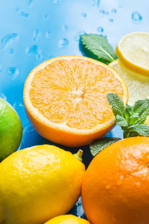 La varietà arance divise in due organiche di frutti dell'agrume di intere ed ha affettato le foglie di menta fresca della calce d immagine stock libera da diritti