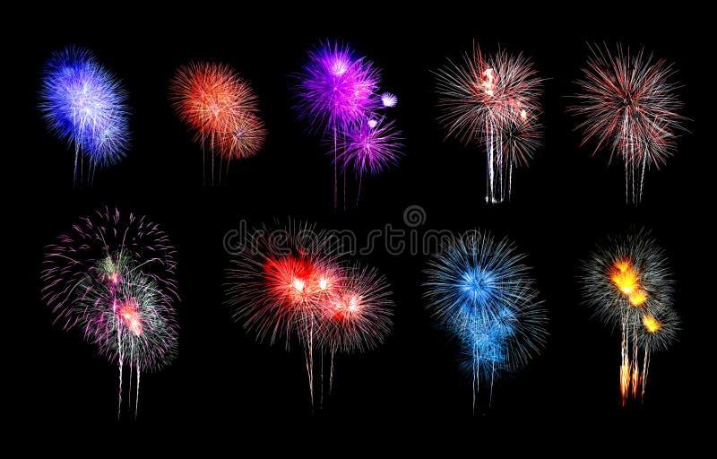 La variet? di colori mescola i fuochi d'artificio o le collezioni del petardo fotografia stock libera da diritti