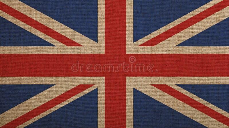 La vecchia annata ha sbiadito la bandiera BRITANNICA della Gran Bretagna sopra tela immagine stock