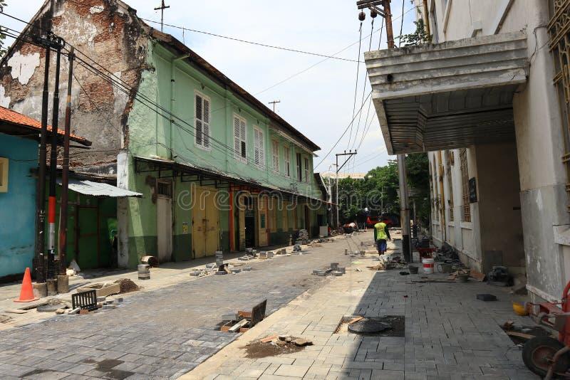 La vecchia area della citt? di Samarang sta effettuando intensivamente i rinnovamenti immagine stock libera da diritti