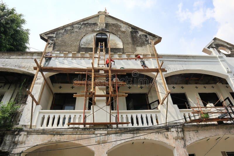 La vecchia area della citt? di Samarang sta effettuando intensivamente i rinnovamenti fotografia stock libera da diritti