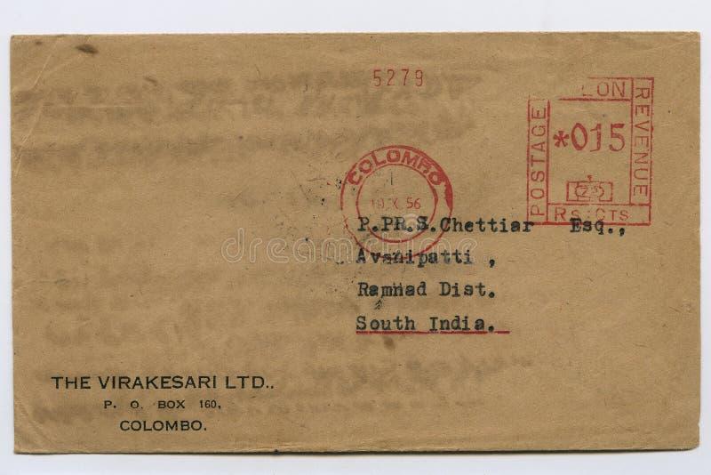 La vecchia busta d'annata ha spedito in franchigia 1956 la Sri Lanka, Colombo, il bollo, il colpo Kalyan dello studio fotografia stock