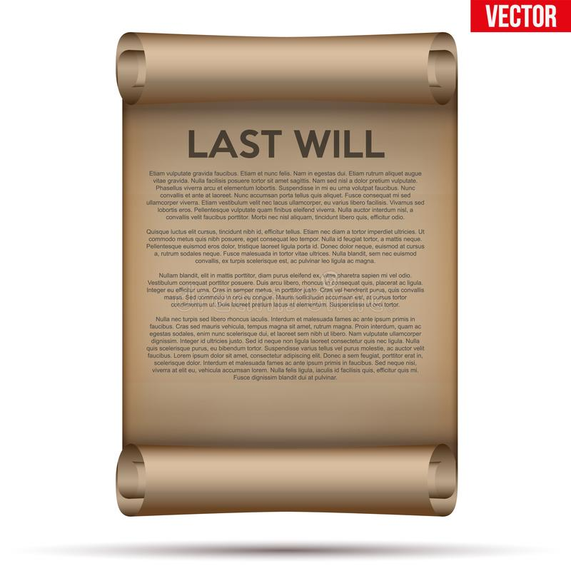 La vecchia carta fatta scorrere con l'ultimo e testamento illustrazione di stock
