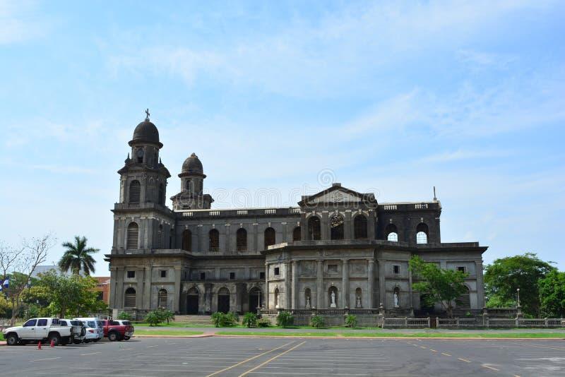 La vecchia cattedrale di Managua, nel Nicaragua fotografie stock libere da diritti