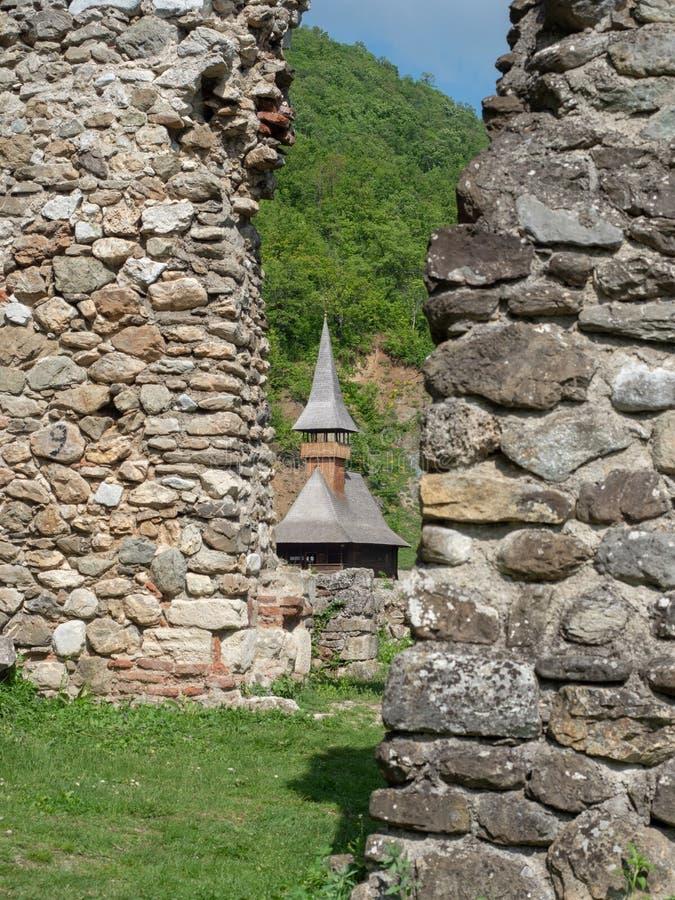 La vecchia chiesa al monastero di Vodita, Romania immagine stock