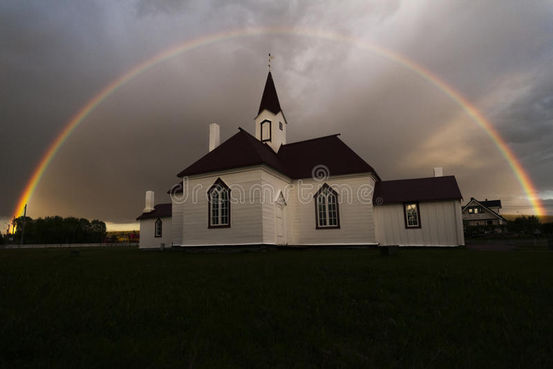 La vecchia chiesa di Karasjok fotografie stock