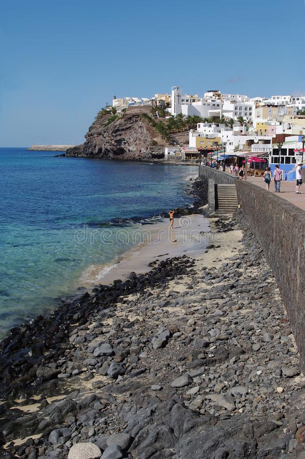 La vecchia città in Morro Jable, isola di Fuerteventura immagini stock libere da diritti