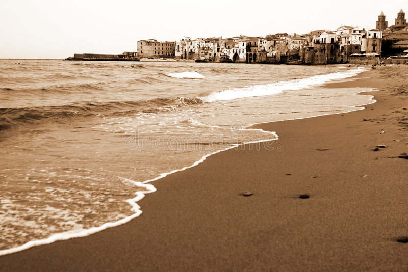 La vecchia Italia, Sicilia, città di Cefalu immagine stock