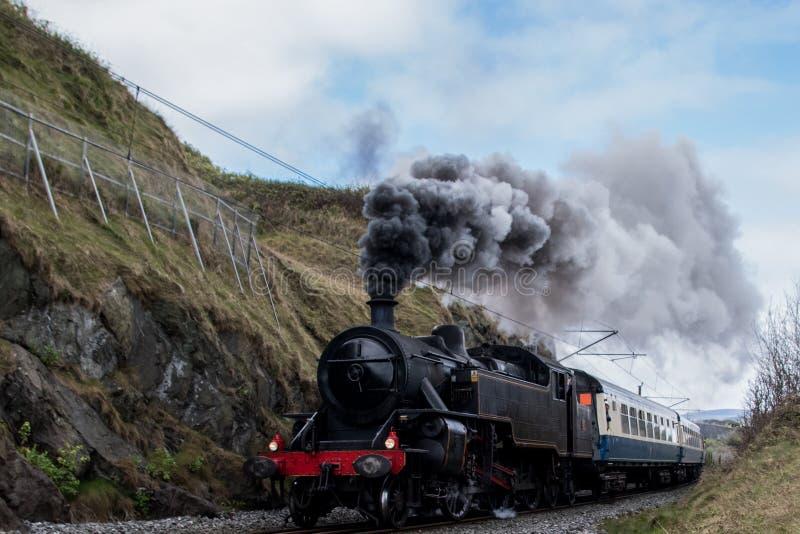 La vecchia locomotiva, treno, produce una colonna di vapore fotografia stock libera da diritti