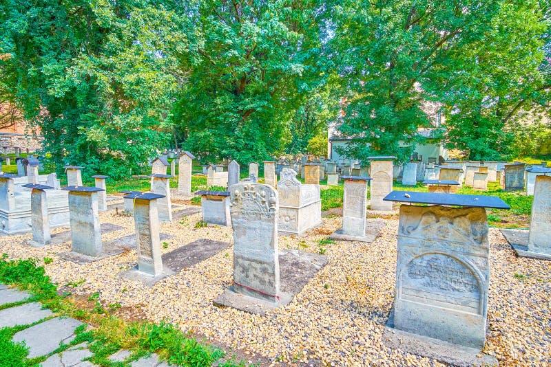 La vecchia necropoli ebrea nel distretto di Kazimierz di Cracovia, Polonia immagini stock libere da diritti