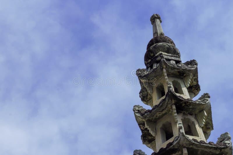 La vecchia pagoda cinese è woramahawiharn del kalayanamit del wat con un fondo è cielo blu con nuvoloso fotografia stock libera da diritti