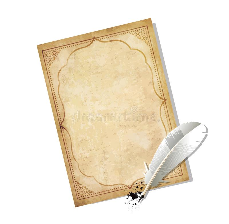 La vecchia penna di carta indossata d'annata della piuma e dello spazio in bianco con inchiostro macchia illustrazione di stock