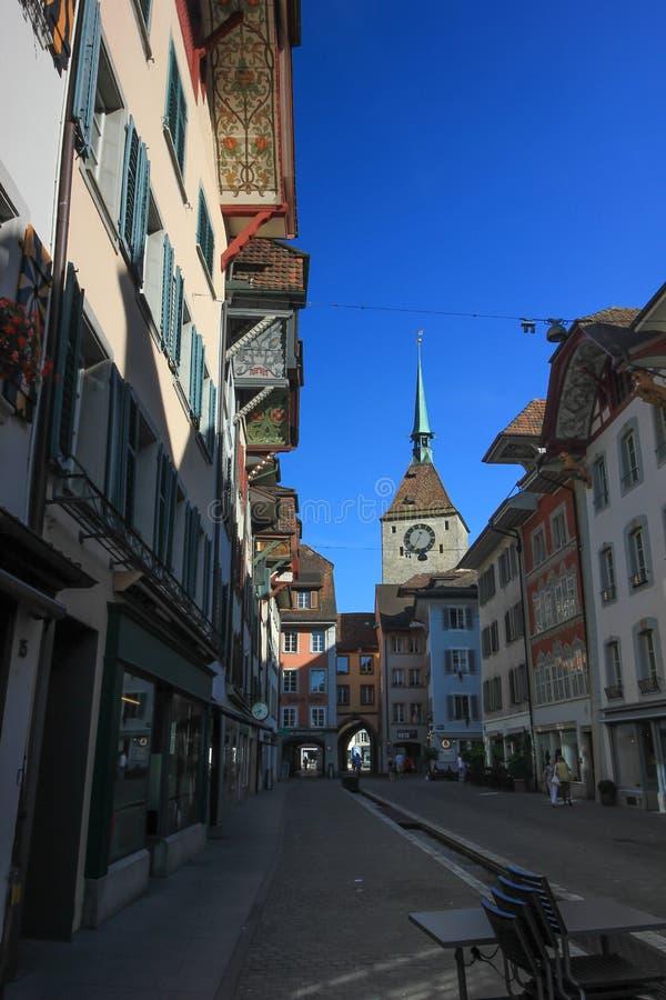 La vecchia torre di orologio a Aarau, Svizzera fotografia stock