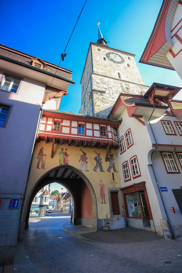 La vecchia torre di orologio a Aarau, Svizzera immagine stock libera da diritti