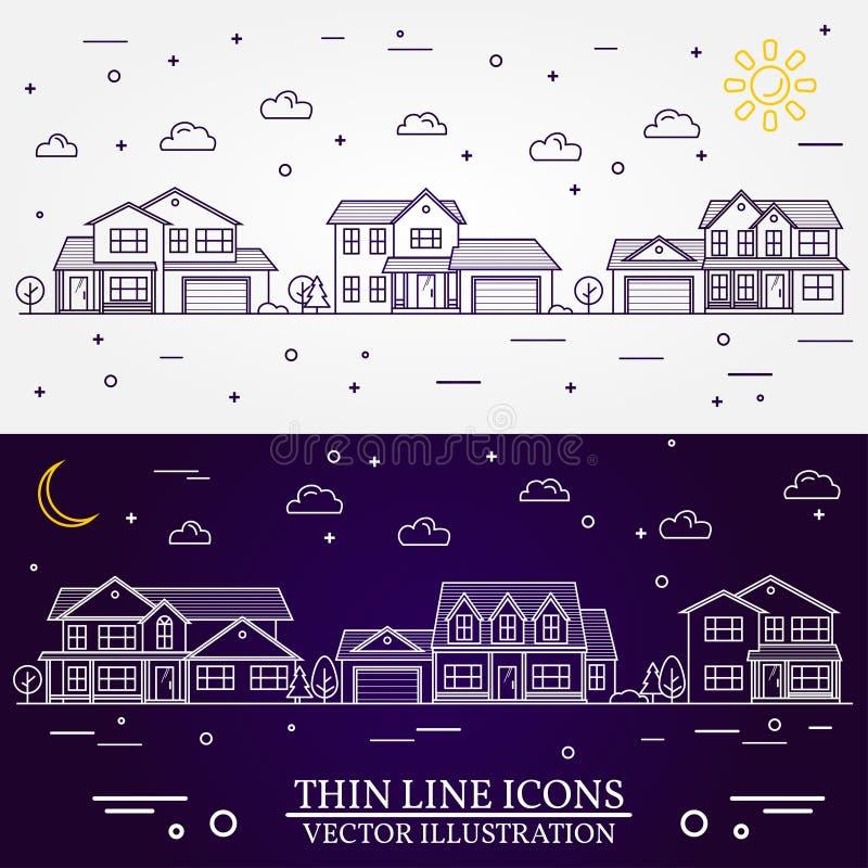 La vecindad con los hogares ilustró el fondo blanco y púrpura ilustración del vector