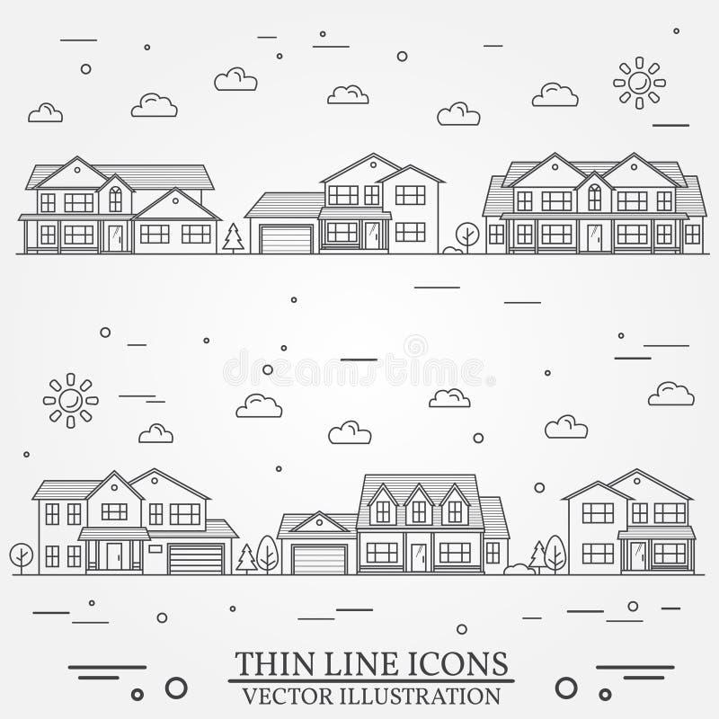 La vecindad con los hogares ilustr? L?nea fina casas americanas suburbanas del vector del icono Para el dise?o web y el uso libre illustration