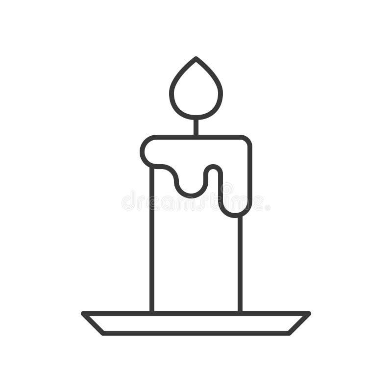 La vela, Halloween relacionó el icono hueco del esquema, movimiento editable libre illustration
