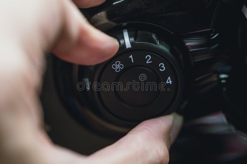 La velocidad del viento condicional de la fan del aire del coche ajusta imagen de archivo