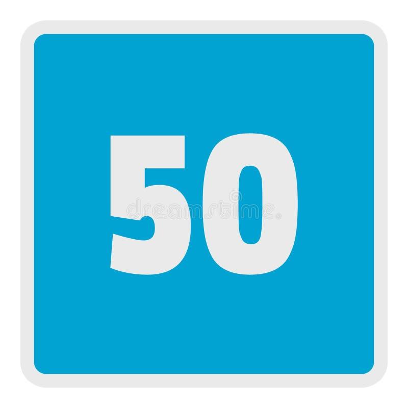 La velocidad mínima cincuenta limita el icono, estilo plano stock de ilustración