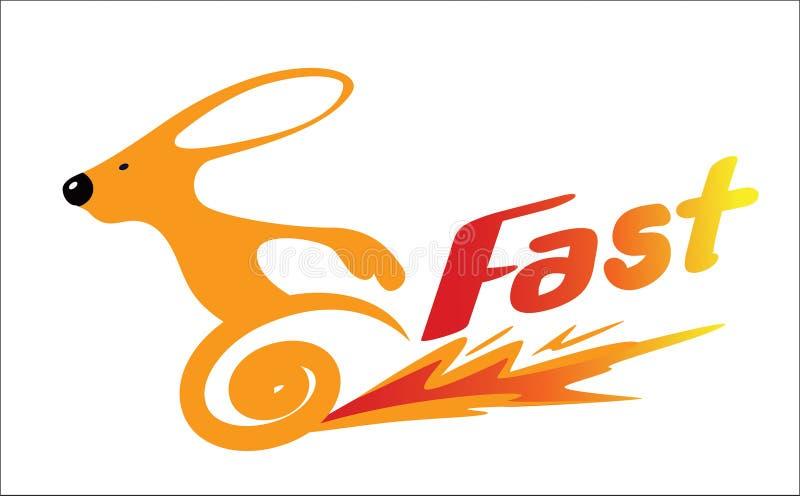La velocità di marcia arancio del coniglio, si sforza, di sormontare royalty illustrazione gratis