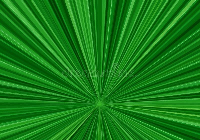 La velocità radiale allinea con un centro in giù spostato Fondo astratto di frattale con i raggi verde intenso Effetto dello zoom illustrazione vettoriale