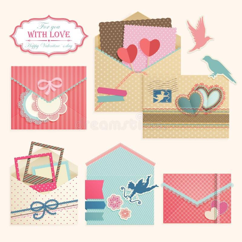 La vendimia del día del `s de la tarjeta del día de San Valentín envuelve. libre illustration