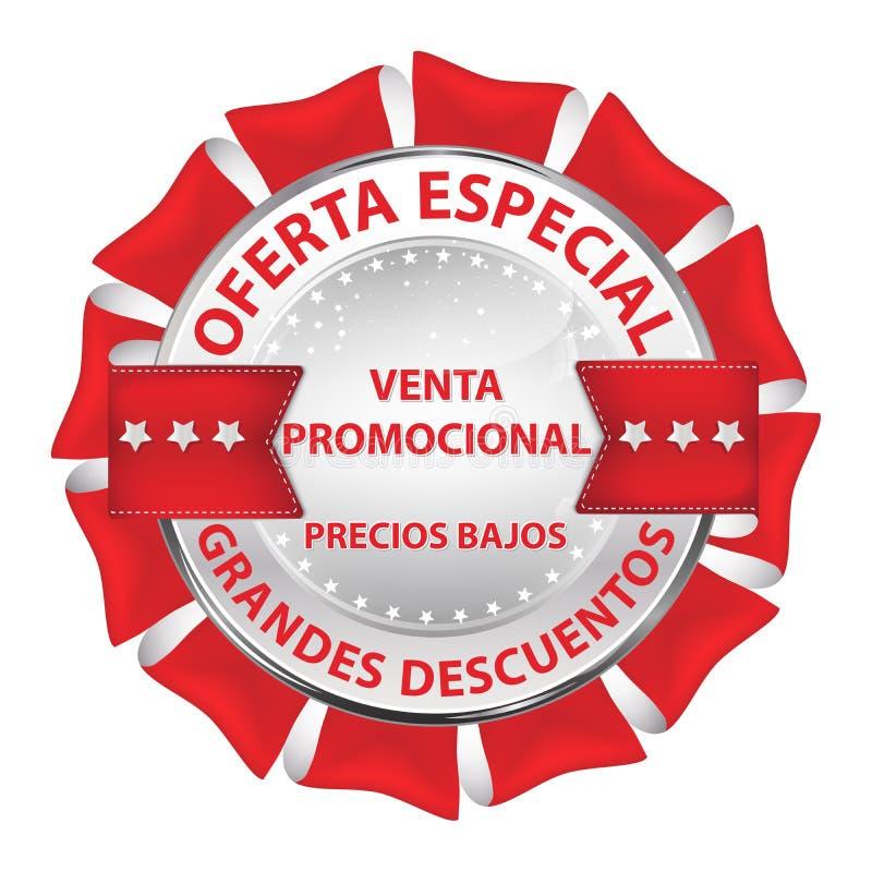 La vendita/bottone al minuto ha progettato con testo spagnolo illustrazione vettoriale