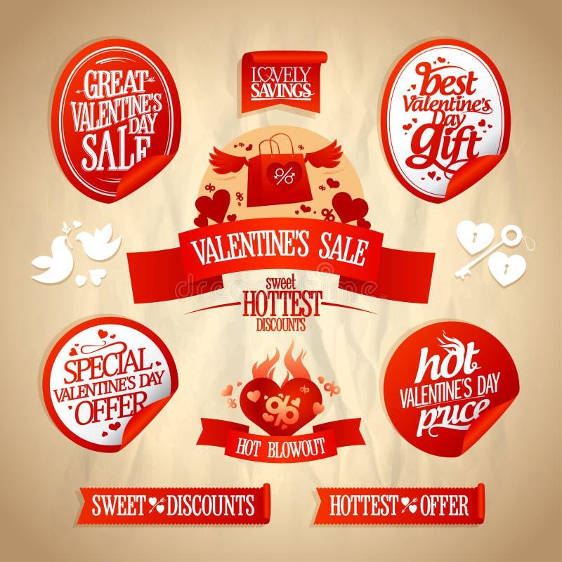 La vendita del giorno del ` s del biglietto di S. Valentino progetta la raccolta. illustrazione di stock