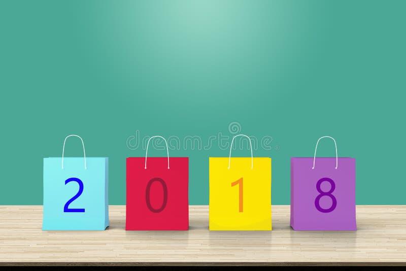 La vendita 2018 del nuovo anno, il sacchetto della spesa di carta variopinto e la copia spaziano la f illustrazione di stock