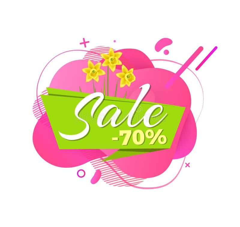La vendita della primavera 70 per cento fuori, fiori del narciso etichetta illustrazione vettoriale