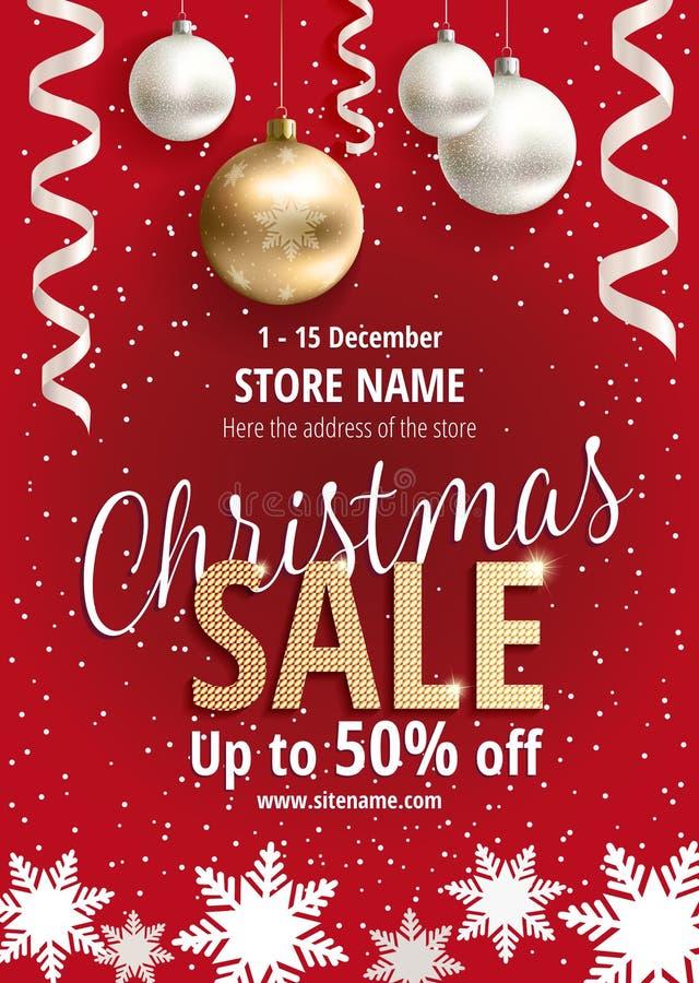 La vendita di natale Manifesto rosso per il negozio illustrazione di stock