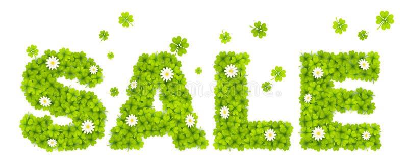 La VENDITA floreale del segno fatta dal trifoglio verde va con i fiori della camomilla royalty illustrazione gratis