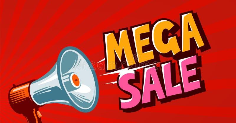 La vendita mega, il closeout, promo, sconta l'insegna Concetto di acquisto Illustrazione di vettore illustrazione vettoriale