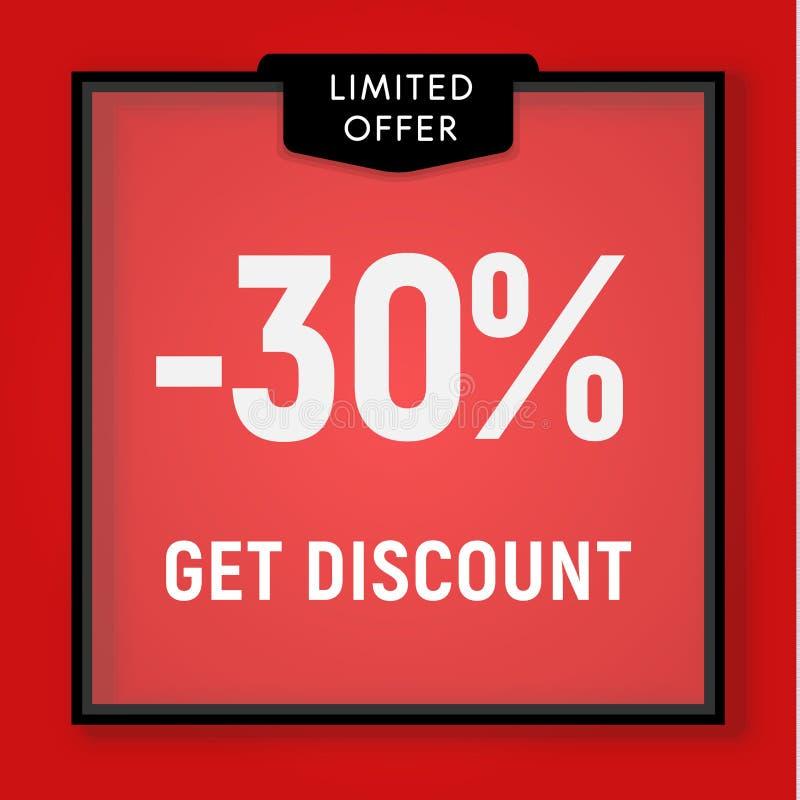 La vendita 30 per cento fuori, ottiene il bottone del sito Web di sconto Finestra del negozio, dietro progettazione di vetro Illu royalty illustrazione gratis