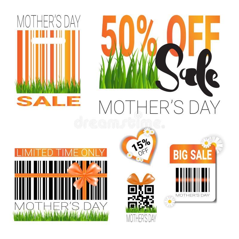 La vendita per i distintivi del giorno di madri messi ha isolato la raccolta dei segni di sconto e di offerta speciale royalty illustrazione gratis