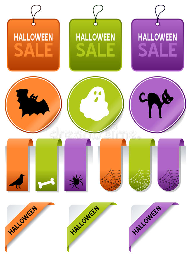 La venta de Halloween marca el sistema de elementos con etiqueta ilustración del vector