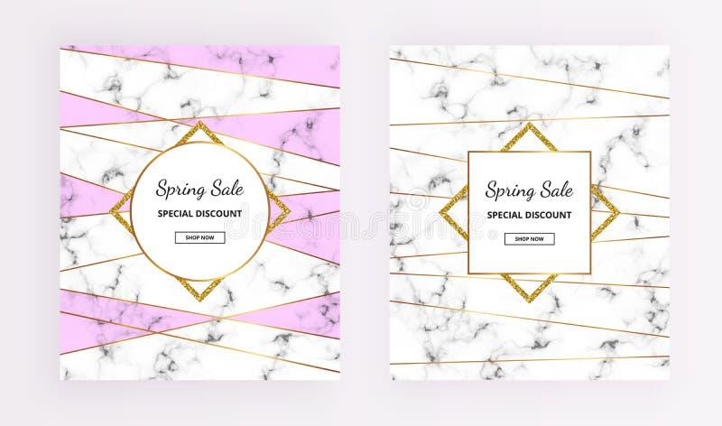 La venta de la primavera de la cubierta, la línea diseño con la textura de mármol y los marcos del brillo del oro, púrpura colore stock de ilustración