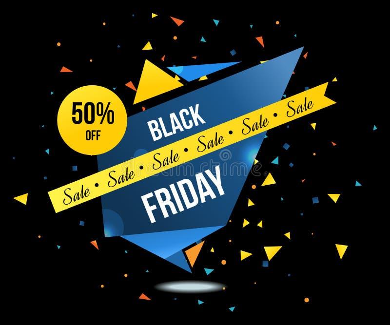La venta de viernes y el sistema de etiquetas negros de los descuentos aislaron el ejemplo del vector libre illustration