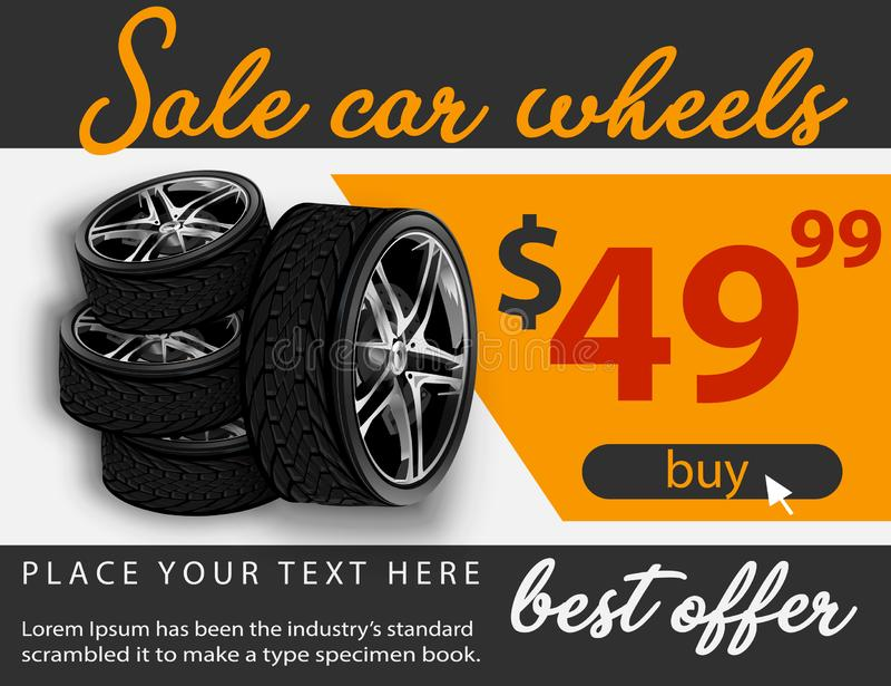 La venta del vector rueda el cartel del anuncio ejemplo 3D del neumático de coche Rueda Neumático de goma negro Coche brillante d stock de ilustración