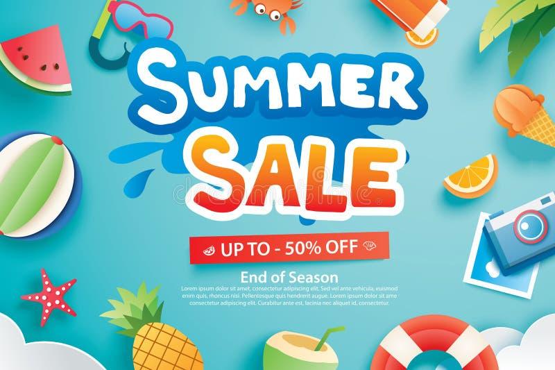 La venta del verano con el papel cortó símbolo y el icono para hacer publicidad del backg stock de ilustración